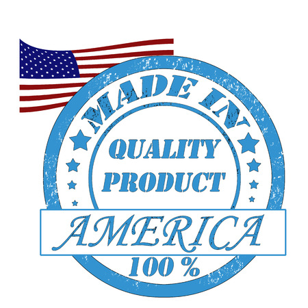 made manufacture manufactured: Stamp with flag of the USA, made in quality product Illustration
