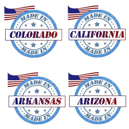 Stamps with made in colorado,california, arkansas,arizona