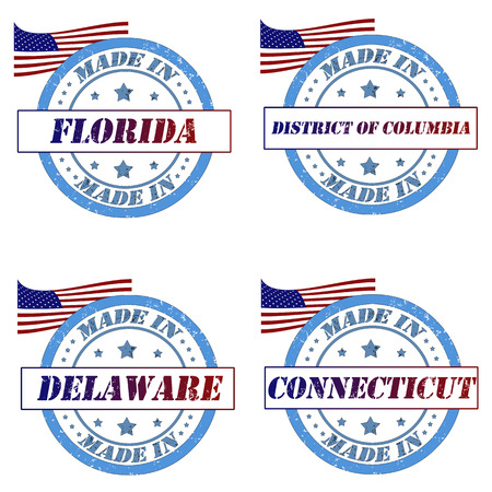 district of colombia: Set di francobolli con made in Florida, Delaware, Connecticut, District of Columbia Vettoriali