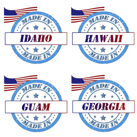Set of stamps made in idaho,hawaii,guam,georgia Vector