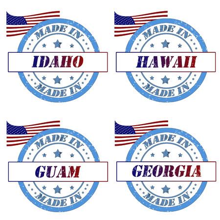 guam: Set of stamps made in idaho,hawaii,guam,georgia