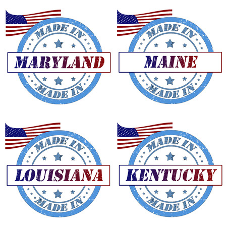 Set of stamps with made in maryland,maine,louisiana,kentucky