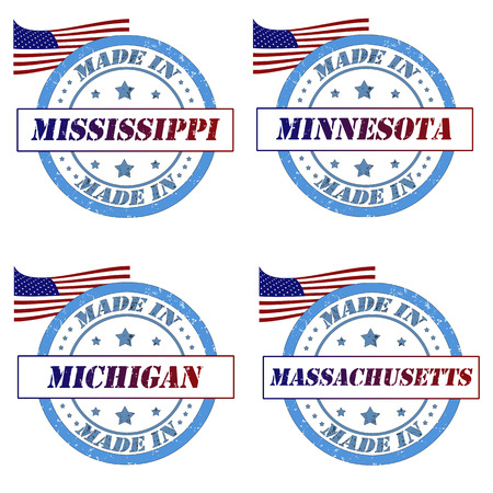 Set of stamps with made in mississippi,minnesota,michigan,massachusetts Vector