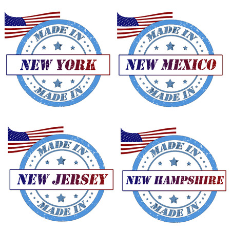 Set of stamps with made in new york,new mexico,new jersey,new hampshire Vector