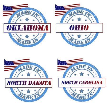 Set of stamps with made in oklahoma,ohio,north dakota,north carolina Vector