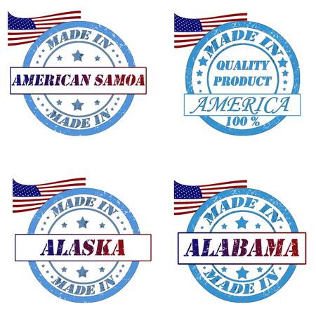 alabama flag: Set of stamps with made in samoa,america,alaska,alabama