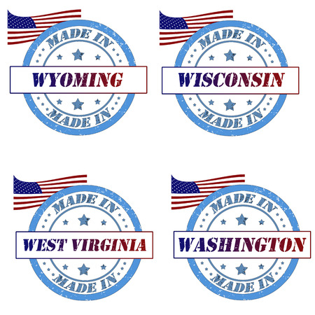 Set of stamps with made in wyoming,wisconsin,west virginia,washington Illustration
