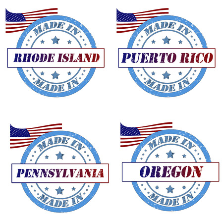 Set of stamps with made in rhode island,puerto rico,pennsylvania,oregon Vector