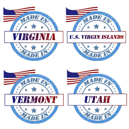 Set of stamps with made in virginia,virgin islands,vermont,utah