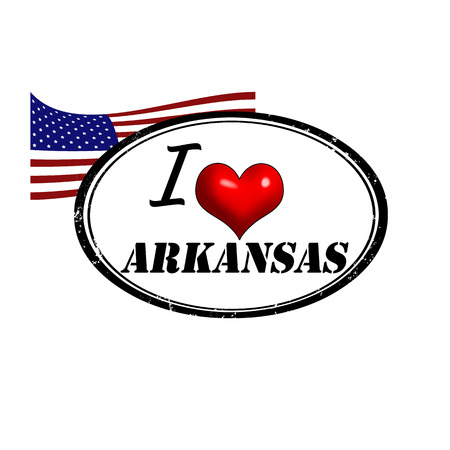 provincial: Grunge stamp with text I Love Arkansas inside and USA flag, vector illustration