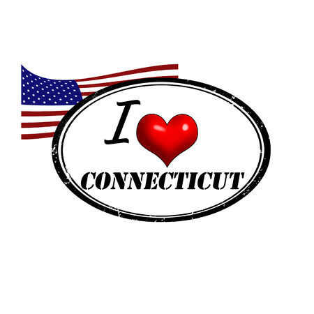 Grunge stamp with text I Love Connecticut inside and USA flag, vector illustration
