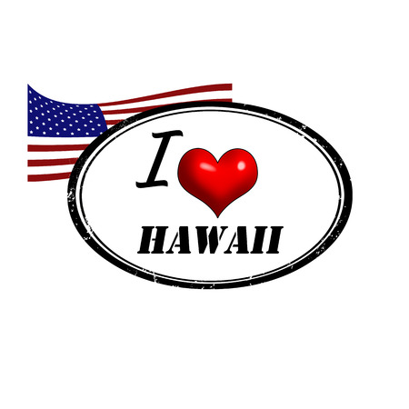 provincial: Grunge stamp with text I Love Hawaii inside and USA flag, vector illustration