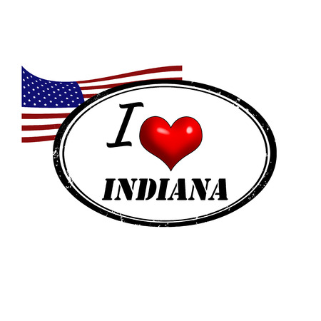 Grunge stamp with text I Love Indiana inside and USA flag, vector illustration