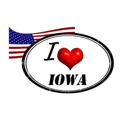 provincial: Grunge stamp with text I Love Iowa inside and USA flag, vector illustration
