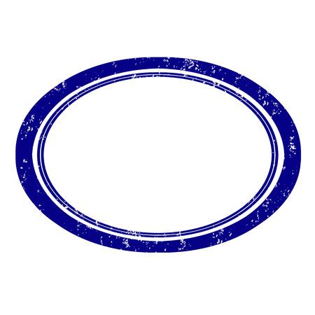 Empty blue elipse grunge stamp, vector ilustration