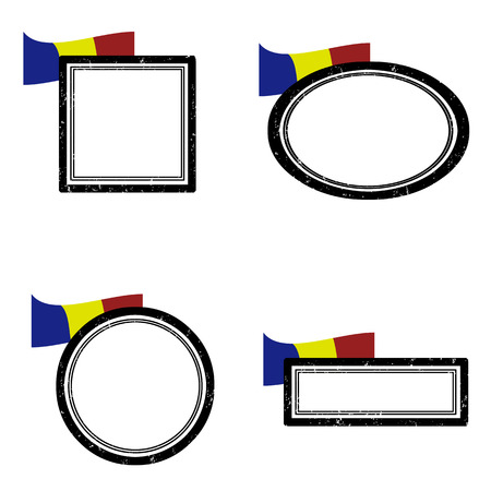 Set of grunge rubber stamps with the flag of Romania illustration