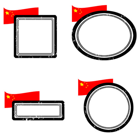 Set of grunge rubber stamps with the flag of China illustration  Vector