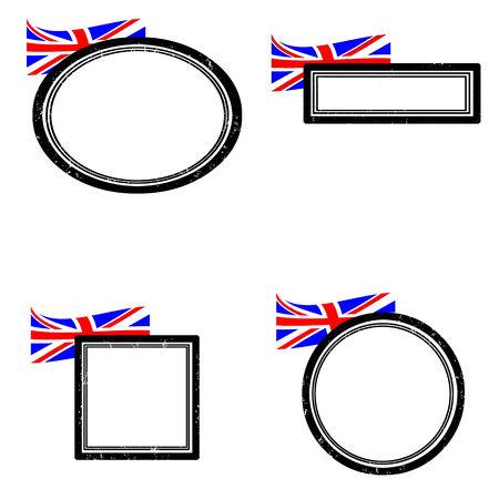 Set of grunge rubber stamps with the flag of United Kingdom illustration