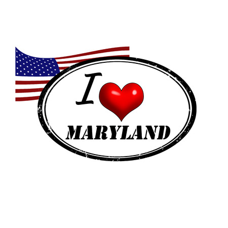 Grunge stamp with text I Love Maryland inside and USA flag illustration
