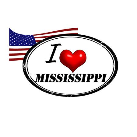 Grunge stamp with text I Love Mississippi inside and USA flag illustration  Illustration