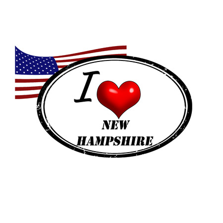 Grunge stamp with text I Love New Hampshire inside and USA flag illustration