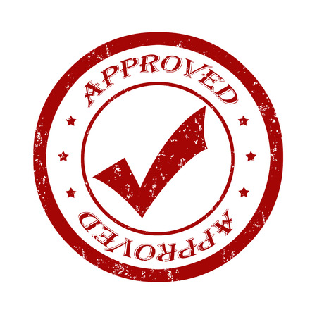 accredit: Approved grunge rubber stamp on white illustration Illustration