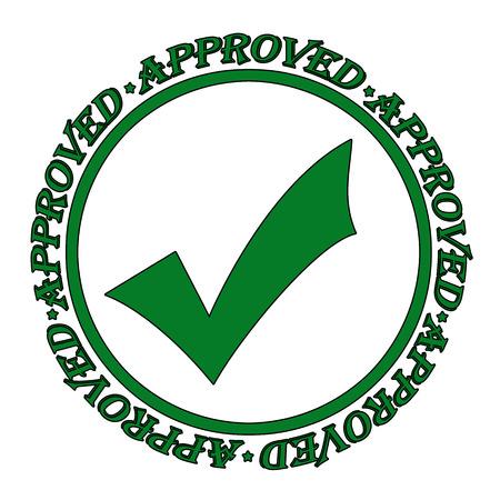 approbation: Approvato verde timbro di gomma grunge su bianco illustrazione