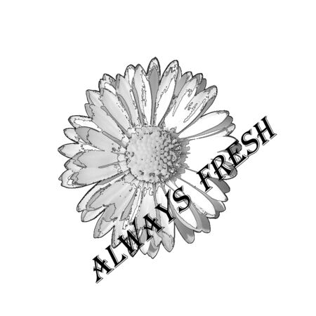 Flower label with always fresh text on white background Vector
