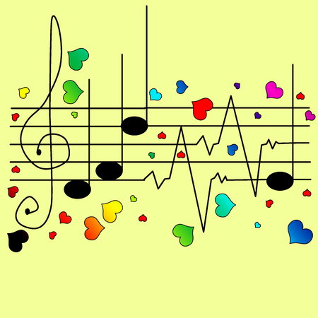 Musical ekg with different hearts vector illustration Vector
