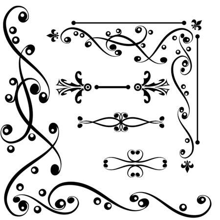 Set of graphic border elements for design illustration Illustration
