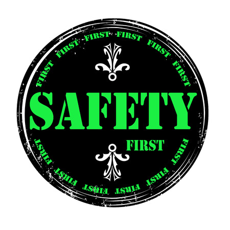 Safety first mark green on black illustration Vector