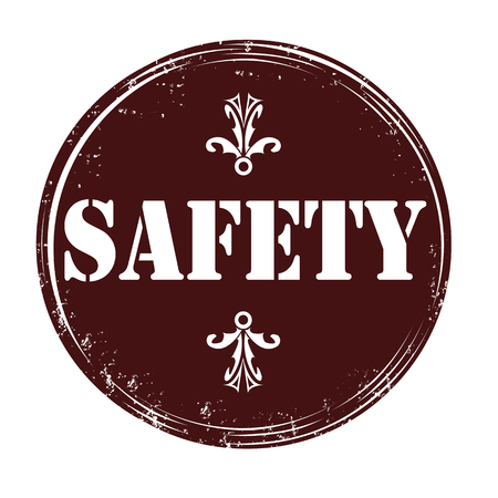 Rubber stamp with safety text inside illustration Vector
