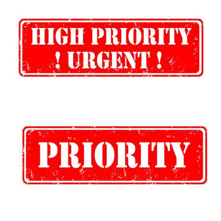 Les timbres en caoutchouc haute priorité urgente, illustration vectorielle