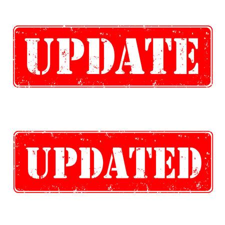 updated: Conjunto de sellos de caucho con la actualizaci�n del texto, actualizado