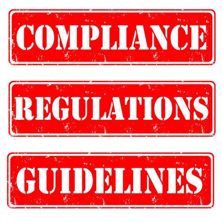 Set of red stamps gudelines,compliance, vector illustration Illustration