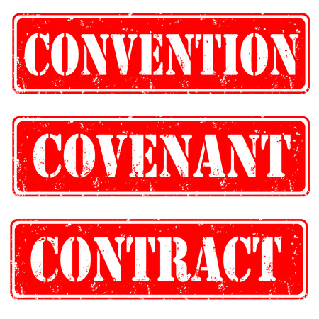 covenant: Set of grunge rubber stamps with text convention,covenant,contract inside