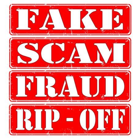 ゴム製スタンプ偽、詐欺、詐欺の設定します。  イラスト・ベクター素材