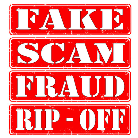 dishonest: set of rubber stamps fake,fraud,scam