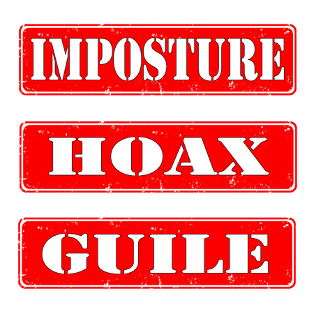 imposture: set of stamps imposture,hoax,guile,vector illustration Illustration