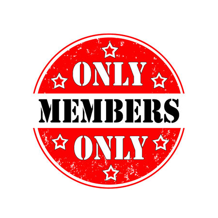only members: round rubber stamp only members, vector illustration