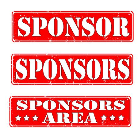 sponsor: set of rubber stamps sponsor, vector illustration Illustration