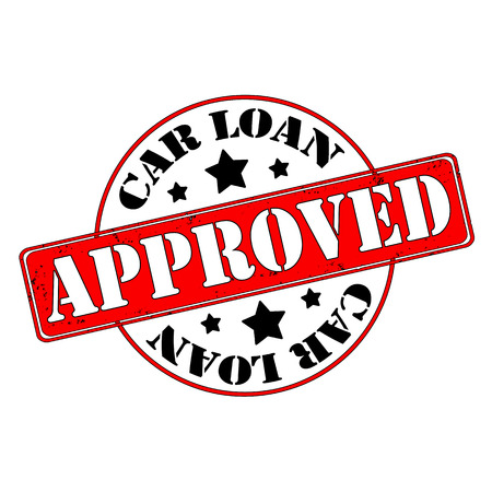 akkoord: Auto lening goedgekeurd stempel, label, vector illustratie Stock Illustratie
