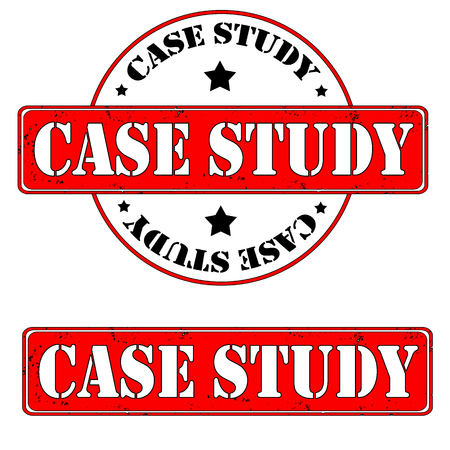 Case study stamps, label, vector illustration