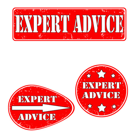 Set of red rubber stamps expert advice, different shapes, vector illustraton Vector