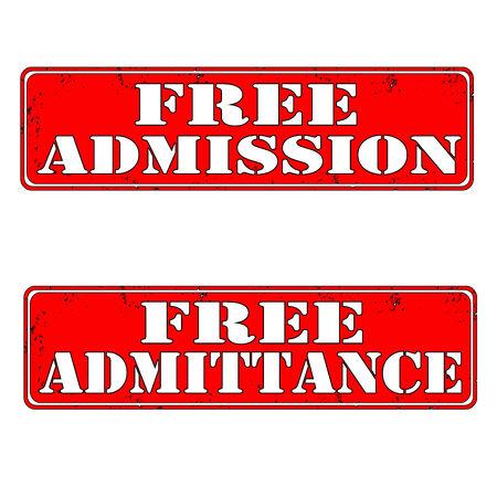 Set of stamps free admission and free admittance, vector illustration Illustration