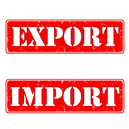 Import export rubber stamps, vector illustration