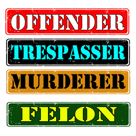 trespasser: Set of stamps offender, felon , vector illustration