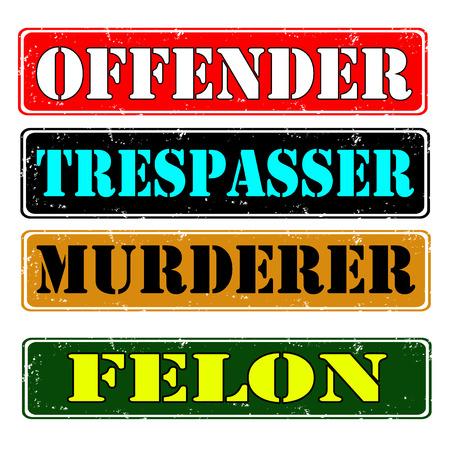 Set of stamps offender, felon , vector illustration