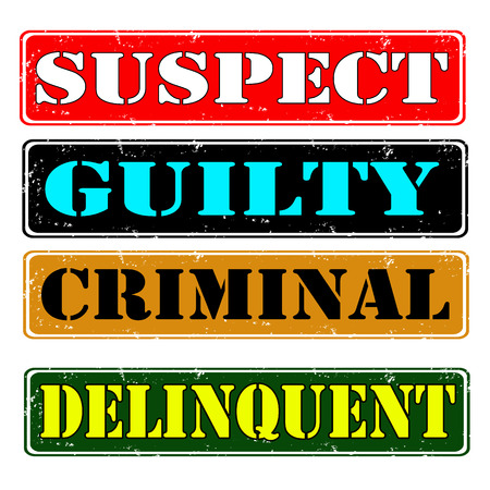 suspect: Set of rubber stamps suspect guilty , vector illustration