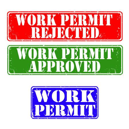 permit: Set of grunge rubber stamps work permit, vector illustration